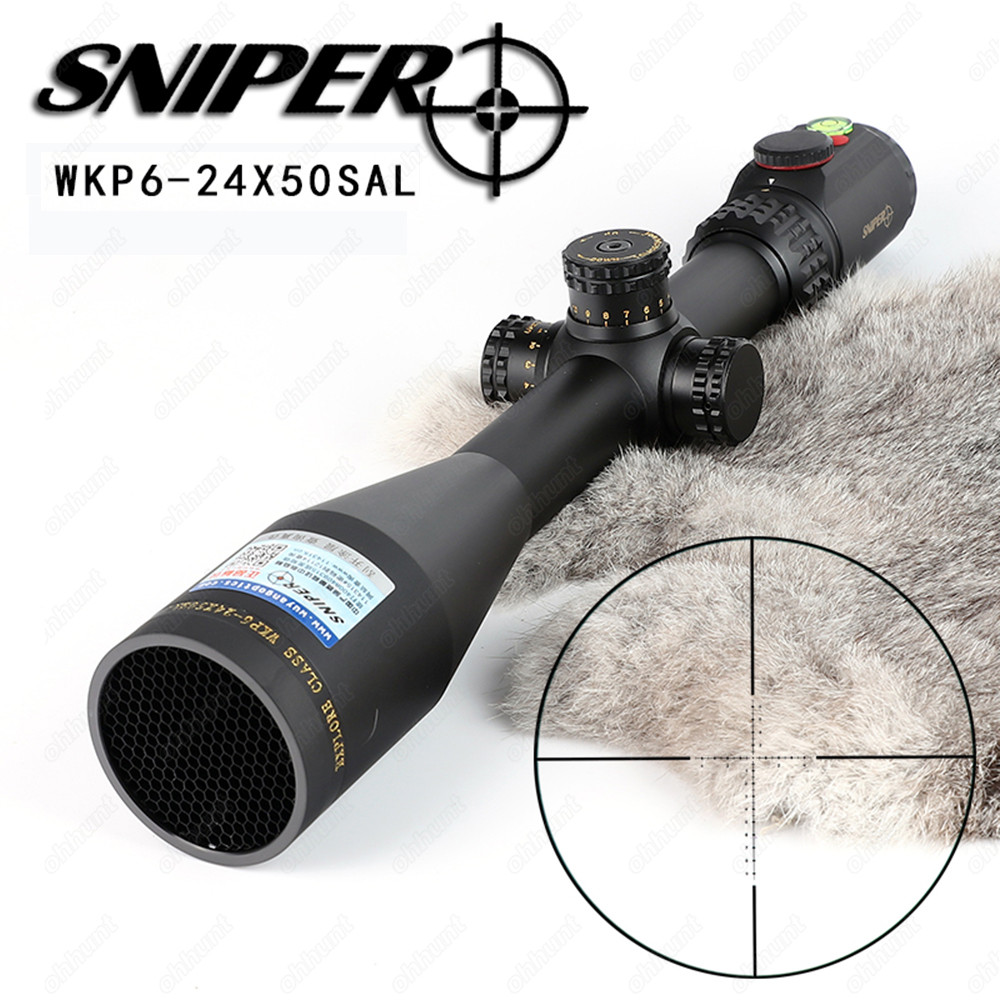 SNIPER WKP 6-24X50 SAL Hunting Rifle Scope Side Parallax Adjustment Glass Etched Reticle RG Illuminated with Bubble Level magpul g lt p moe sniper rifle limited edition