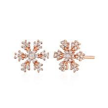 QYI 0.17 ct Natural Diamond snowflake Earrings 18K Rose Gold Halo Stud Earrings Fine Jewelry Earring Studs
