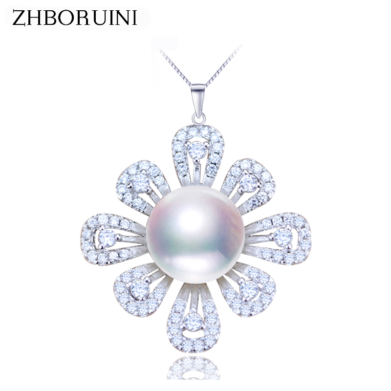 ZHBORUINI 2019 Pearl Jewelry Natural Freshwater Pearl Flower Pearl Necklace Pendant 925 Sterling Silver Jewelry For Women Gift