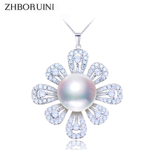ZHBORUINI 2019 Pearl Jewelry Natural Freshwater Pearl Flower Pearl Necklace Pendant 925 Sterling Silver Jewelry For Women Gift real new natural freshwater pearl necklace with 925 sterling silver pendant necklace for women natural pearl jewelry