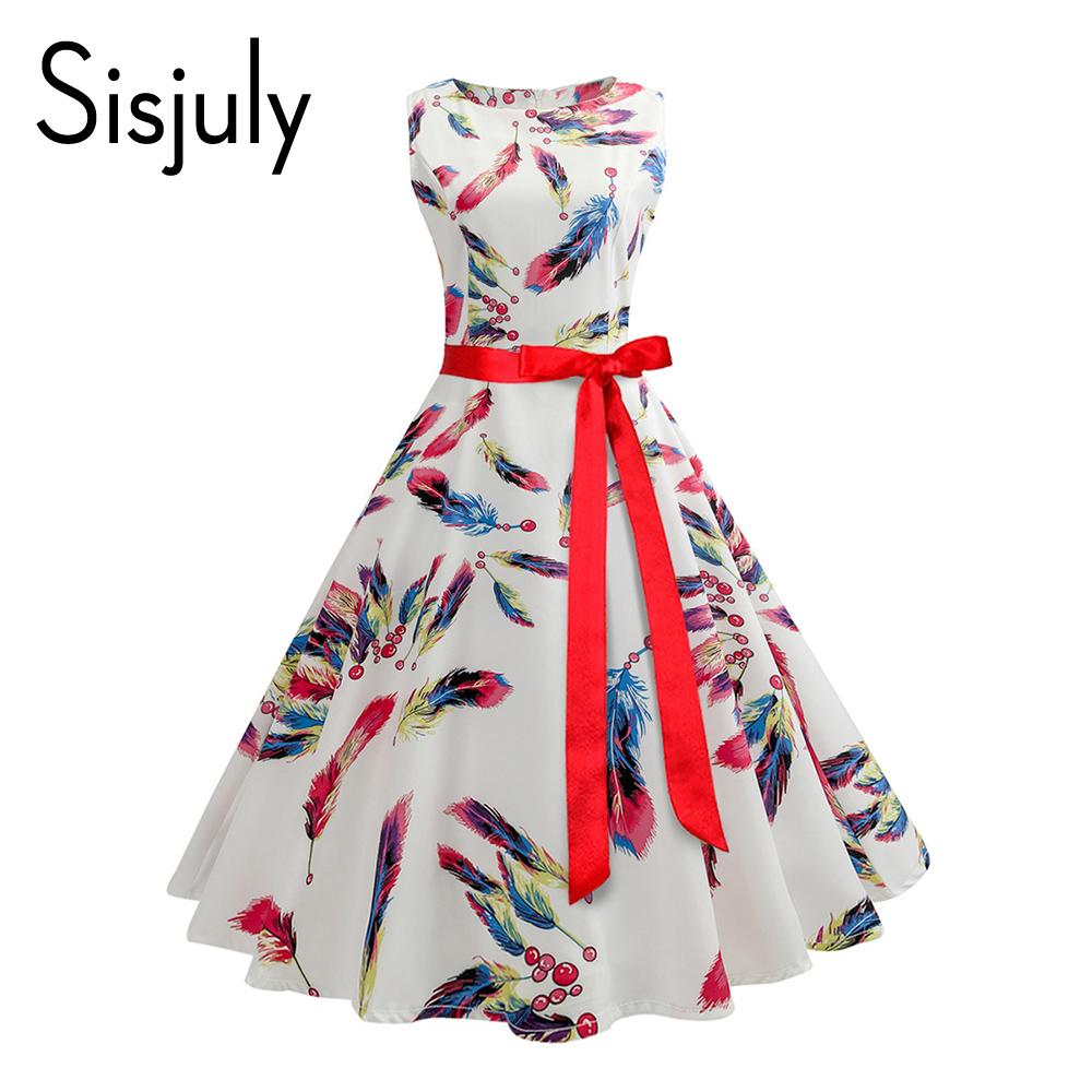 Sisjuly 2018 new white dress women bowknot feather floral dress girls print party style elegant vintage dresses female summer