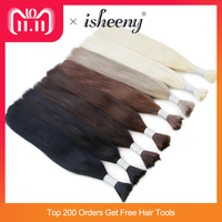 isheeny 14 18 22 Remy Straight Bulk Human Hair For Braiding 1 Bundle Pure Color Hair Extensions