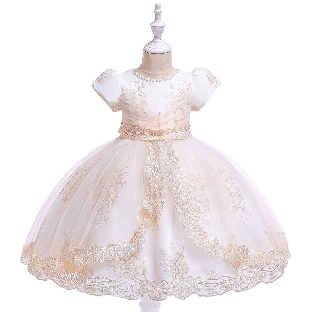 Pageant   Dresses   For   Girls   Short Sleeves Tulle   Flower     Girl     Dresses   Champagne Kids Ball Gowns   Dress