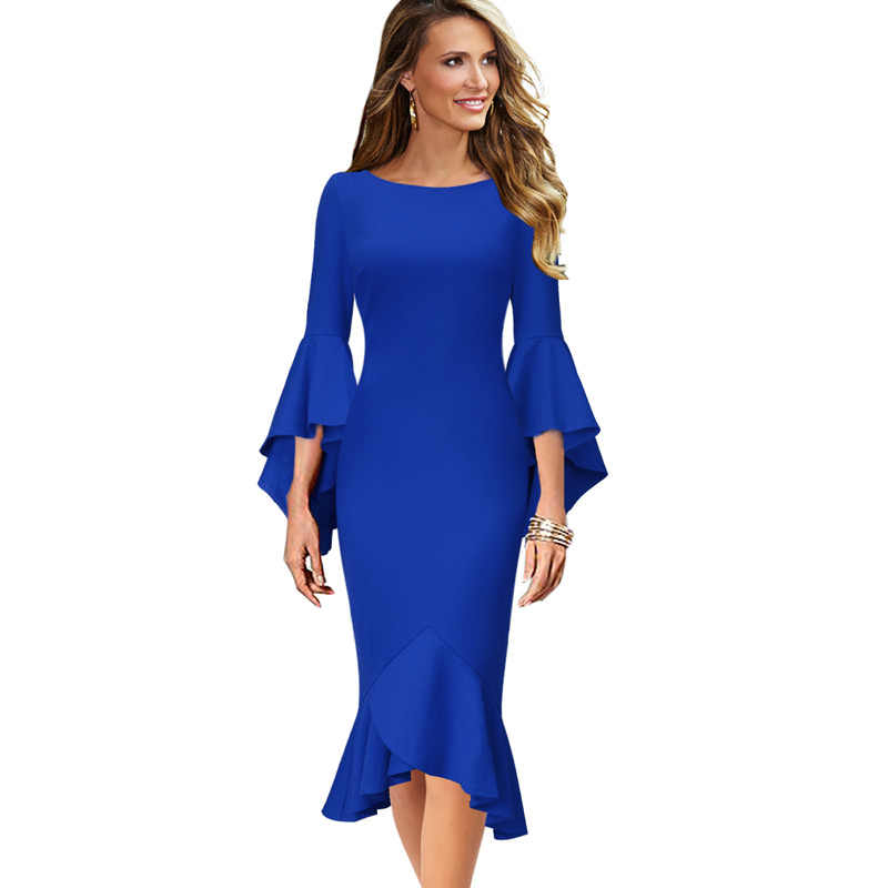 Vfemage Vrouwen Elegante Lange Flare Bell Mouwen Vintage Pinup Formele Party Cocktail Bodycon Mermaid Midi Mid-Kalf Schede Jurk 1700