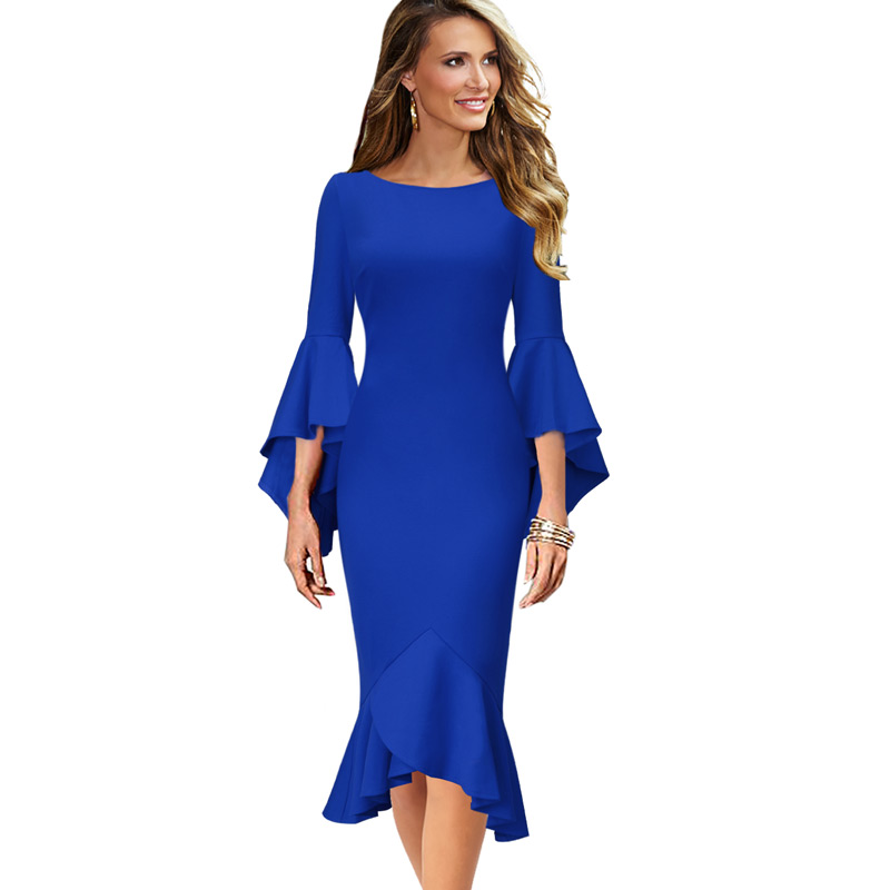 43d78a0129c Vfemage Women Elegant Long Flare Bell Sleeve Vintage Pinup Formal Party  Cocktail Bodycon Mermaid Midi Mid