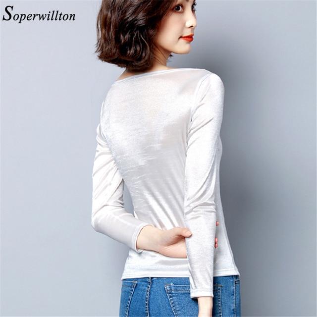 Satin graceful Office Lady Shirt Long Sleeve Women Blouses Slash Nech Female Tops 2019 New Arrived White Black Slim Blouse 3