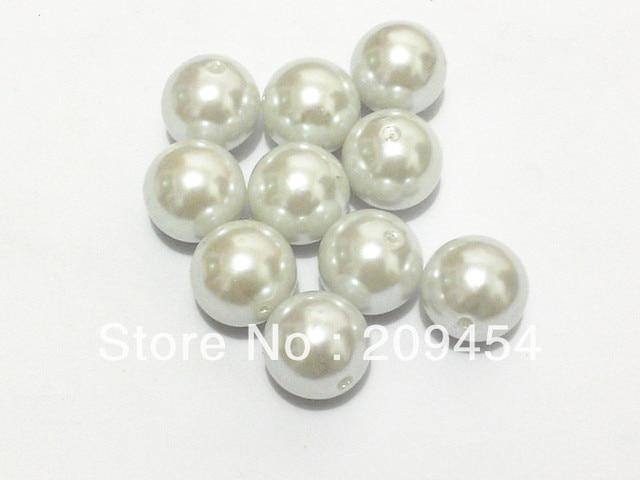 20mm 100pcs lot Pure White Chunky Round Imitation Acrylic Pearl Beads For  Kids Jewelry Making 335b0721857b