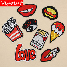 VIPOINT embroidery love eyes patches foods badges applique for clothing XW-139