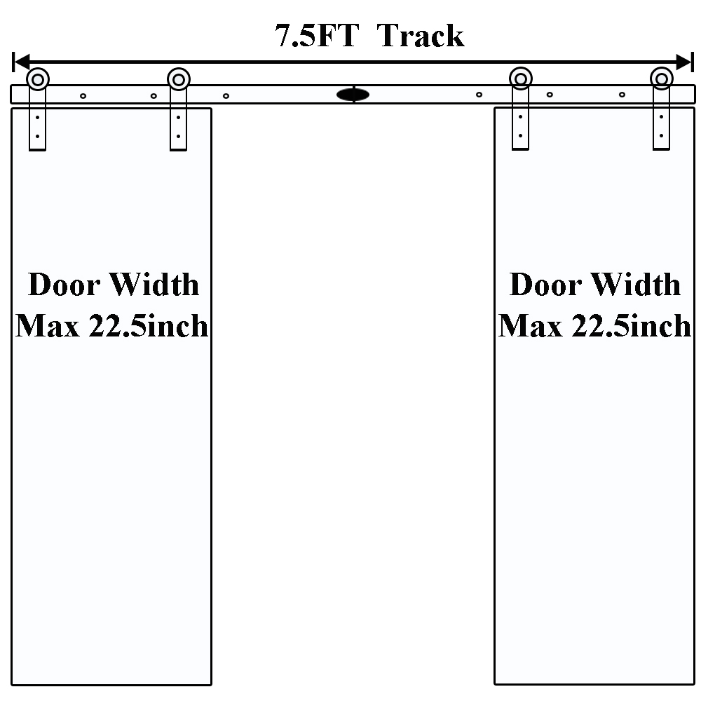 "Купить с кэшбэком LWZH 7.5ft(230cm) Sliding Barn Door Hardware Kit T-Shaped Track Rail Black Roller for Double Door with door width 22.5""(57.15cm)"
