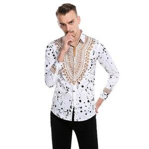 Image 3 - Camisa masculina casual 3d estilo nacional, com estampa floral, camisa masculina manga longa 3xl
