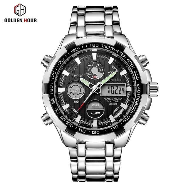 GOLDENHOUR Luxury Brand Waterproof Military Sport Watches Men Silver Steel Digital Quartz Analog Watch Clock Relogios Masculinos 1