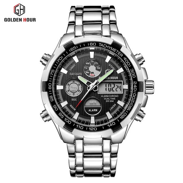 GOLDENHOUR Military Sport Watches Men Silver Steel Digital Quartz Analog Watch