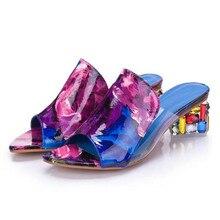 Cristal Mi Talon Plage Sandales D'été Chic Chaussures Slip Sur Plate-Forme Sandales Printemps Dames De Mode Femmes Épaisses Sandales À Talons Hauts