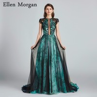 Sexy See Through Long Evening Dresses 2018 Boat Neck A line Cap Sleeve Floor Length Court Train Contrast Color Lace Prom Gowns