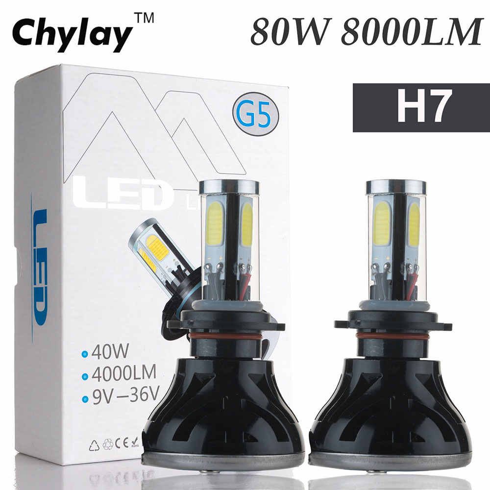High power h7 led bulb 80W 8000LM Led Car Headlight Auto Front Fog Light Car Lamp Bulb Replacement 6000k