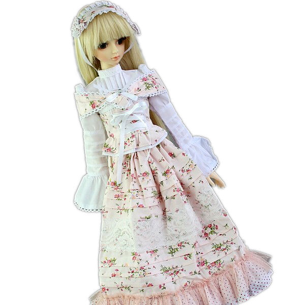 [wamami]148# White Flower Floral Print Dress/Suit/Outfit 1/3 SD AOD DOD BJD Doll [wamami] 649 england style coat suit outfit clothes for 1 3 sd dz dod boy bjd