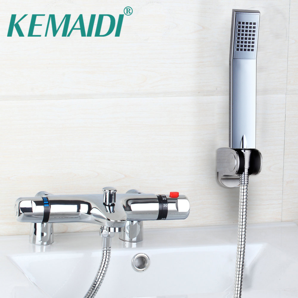 KEMAIDI Bathroom Faucet Chrome Polished Shower Set Hot&Cold Mixers Taps Wall Mounted Rainfall Shower Faucets With Hand Shower wall mount thermostatic shower faucet mixers chrome dual handle bathroom hand held bath shower taps