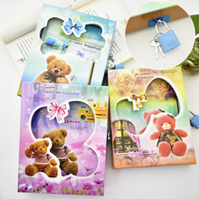 Cute Creative Password Lock Notebook Cartoon Color Page Journal Writing Book For Children's Diary Gift Stationery Free Shipping