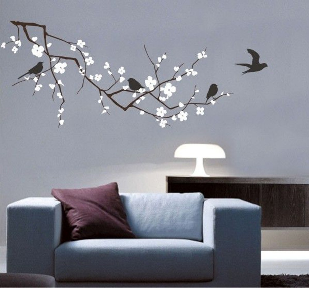 Vinyl Fashion Tree Branch Cherry Blossom Wall Decal With Birds Wall Art Wall  Stickers Home Decor Large Size Poster 120 X 58CM In Wall Stickers From Home  ...