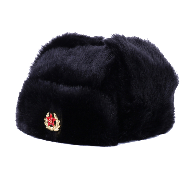 321440fcfaf 2018 Pilot Trooper Trapper Bomber Hat Soviet Army Military Badge Ushanka  Aviator Cap Winter Earflap Faux Rabbit Plush Cossack