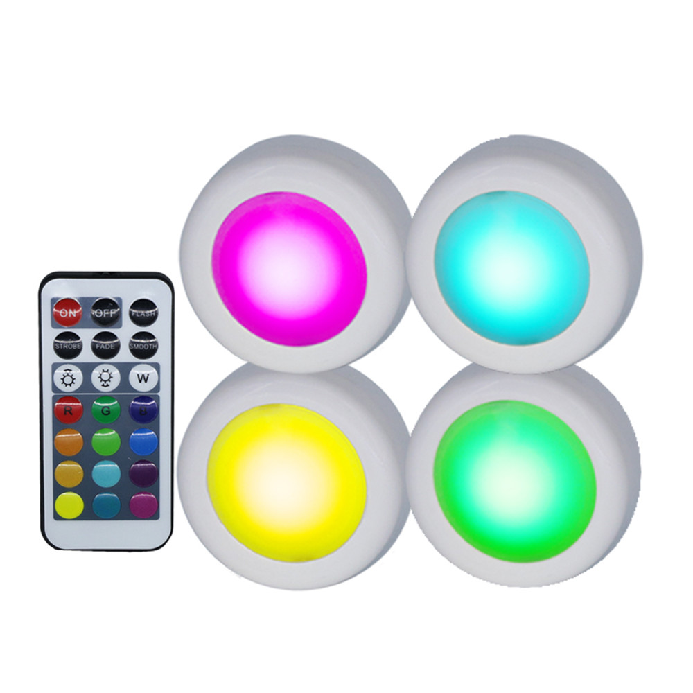 DC4.5V Mini Led Cabinet Light RGB 12 Colors Changing With Remote Controller Indoor Night Lamp For Hallway,Stairs,Kitchen,Drawer