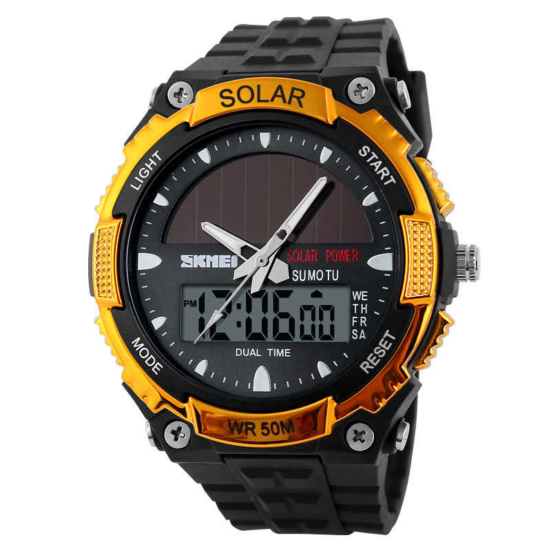 Fashion <font><b>Skmei</b></font> Solar Power Watch Top Brand Men Outdoor Sports Clock 2 Time Zone Digital Quartz Multifunctional Dress Wrist Watch image