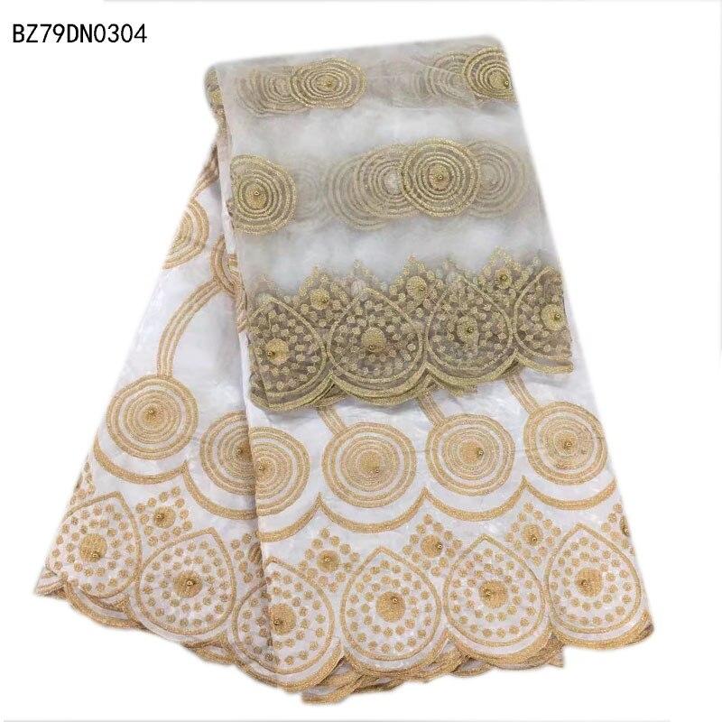 ผ้าฝ้ายสีขาวembroderyลูกไม้กับลูกปัด/ขายส่งไนจี