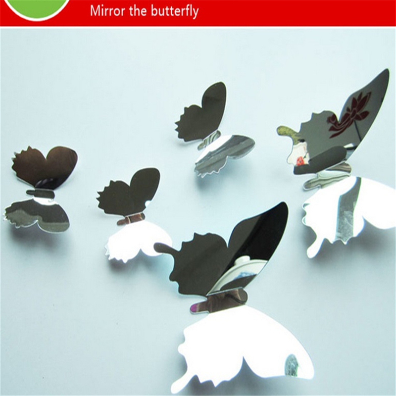 12pcs/set New Arrive Mirror Sliver 3D Butterfly Wall ...