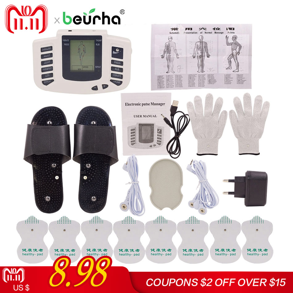 1 Set Stimulator Full Body Relax Muscle Massager Pulse Tens Acupuncture Therapy Slippers Gloves With 16PCS Electrode Pads rosalind nail lamp sunuv sun5 48w dual uv led nail dryer gel polish curing light with bottom 30s 60s timer lamp for nails