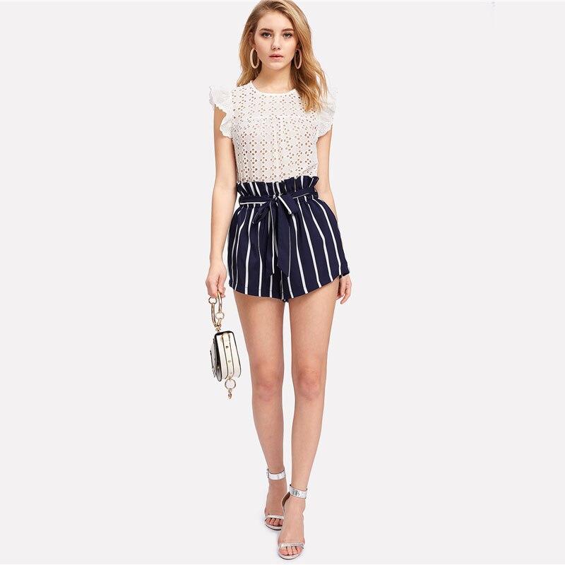 HTB1i1CBoxPI8KJjSspoq6x6MFXat - Belted Ruffle Waist Striped Shorts Women PTC 342