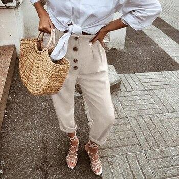 Women Pants High Waist Solid Ankle Length Trousers Female Sweatpant Fashion Vintage Button Stretch Pencil Pants Plus Size