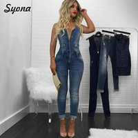 Casual Sexy ROMPER DENIM JUMPSUIT WOMEN Overalls Jeans Sleeveless Backless One Piece Trousers Long Pant Capri Summer Female Slim