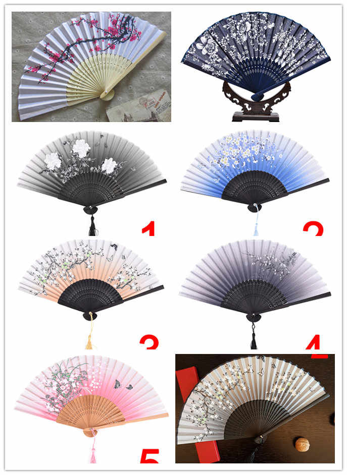 1pc Vintage Chinese Spun Silk Flower Printing Hand Fan Folding Hollow Carved Hand Fan Event & Party Supplies Drop Shipping Hot