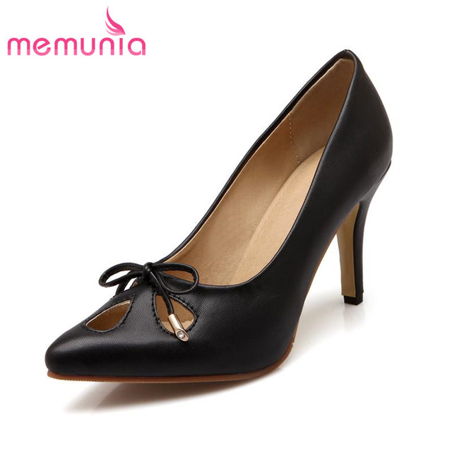 MEMUNIA large size cut outs summer fashion soft leather women pumps thick high heels pointed toe sweet bowtie wedding shoes