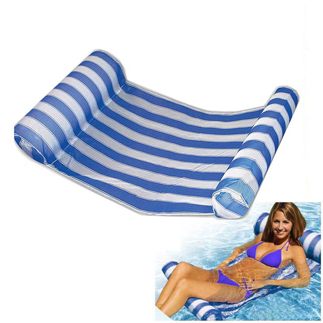 Swimming Pool Floats Air Mattress Inflatable Stripe Sleeping Bed Water  Hammock Lounger Chair Float Swimming Pool