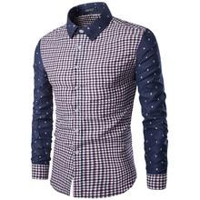 New Men s Casual Plaid Shirt Social Shirt Contrast Details Full Sleeve Turn Down Collar