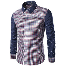 New Men's Casual Plaid Shirt Social Shirt Contrast Details Full Sleeve Turn Down Collar