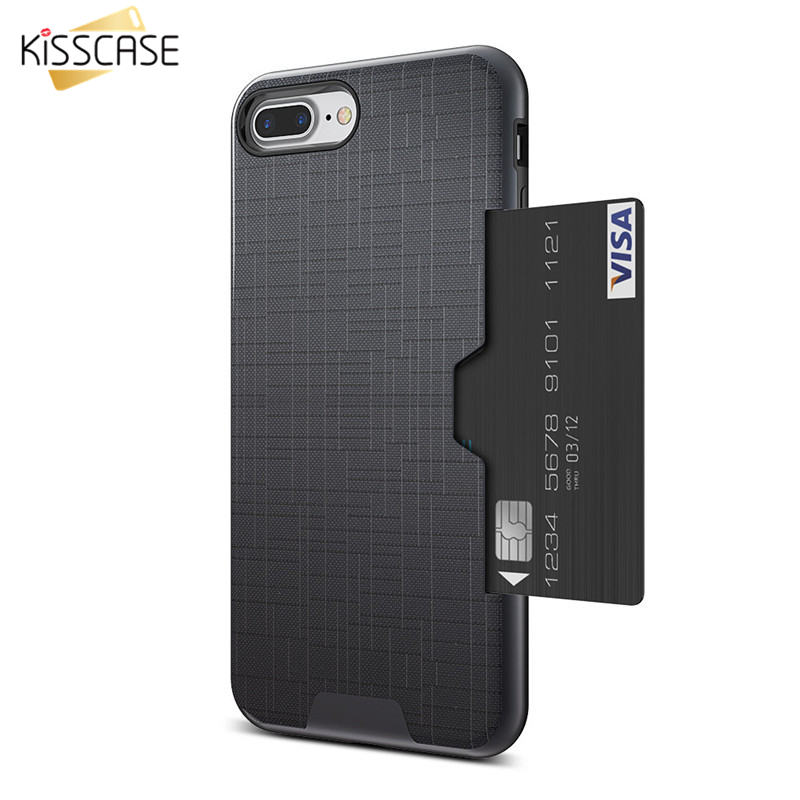 KISSCASE Card Holder Case For iPhone 7 8 Hybrid Shockproof Phone Case For iPhone 7 6 S Card Slot Cases Cover For iPhone 7 8 Plus image