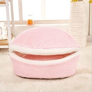 YUYU Warm Cat Bed Dog House Hamburger bed Disassem Blability Windproof Pet Mat Puppy Nest Shell Hiding Burger Bun For Winter 1