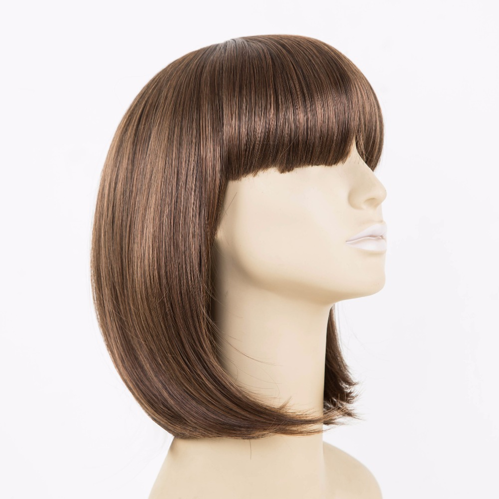 Black Bob Wig Fei-show Synthetic Heat Resistant Fiber Oblique Bangs Short Wavy Cosplay Halloween Carnival Hair Women Hairpieces Synthetic Wigs Synthetic None-lacewigs