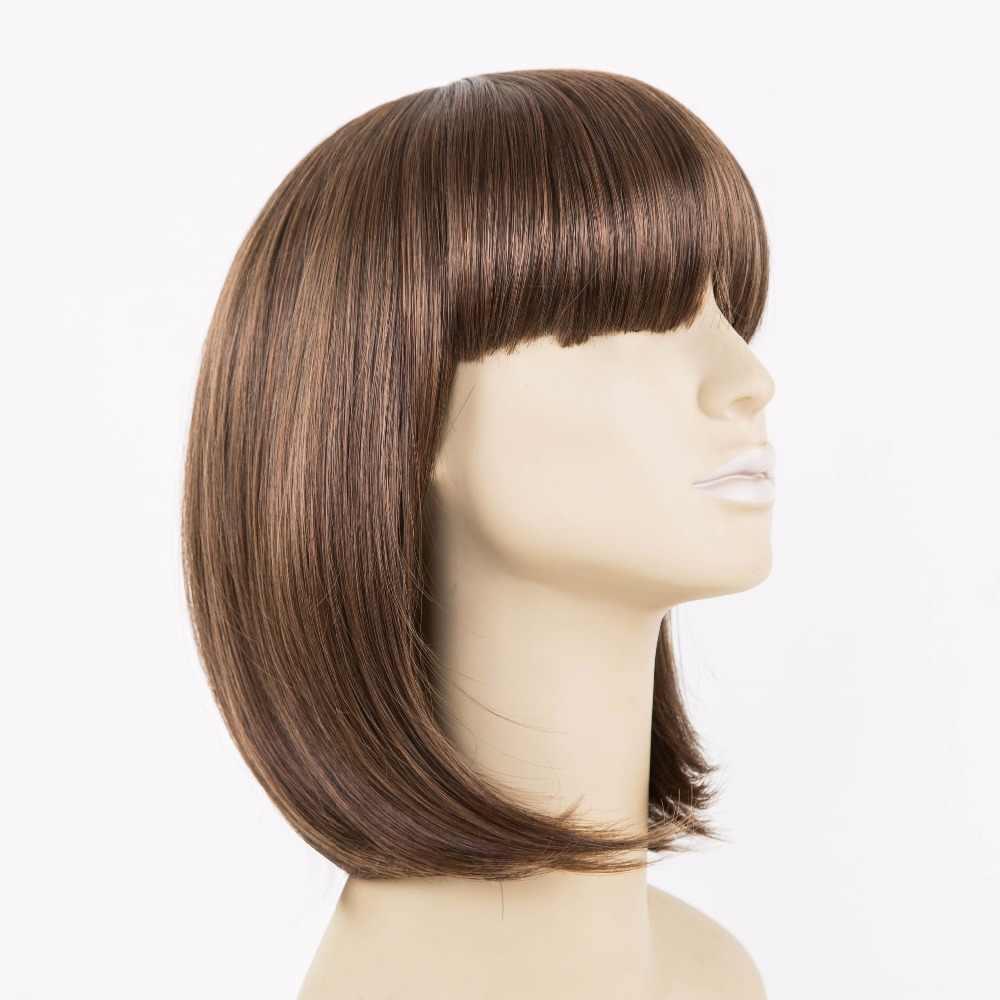 Flequillo de peluca marrón fei-show fibra sintética resistente al calor flequillo ondulado corto de flecos para mujeres peluca femenina para estudiantes