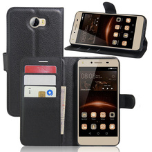 CASEISHERE Luxury Leather Flip Case for Huawei Y5II / Y5 II 2 Smartphone Wallet Stand Cover With Card Holder