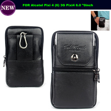 "Genuine Leather Carry Belt Clip Pouch Waist Purse Case Cover for Alcatel Pixi 4 (6) 3G Pixi4 6.0 ""Phone Bags Cases Free Shipping"