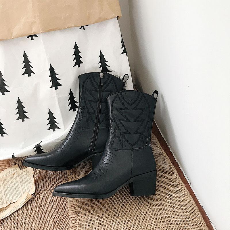 Zip Noir Chaussures Bout Automne En Cuir Chic Pointu Bottes Brodé 2019 MiVeau Hiver Design Taille Pic Chaude Femmes Talon As HW2YED9I