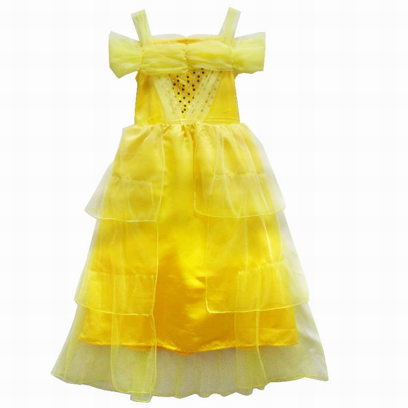 Girls Dresses Belle Cosplay Dress Movie Beauty And The Beast Cosplay Costume Kids Christmas Halloween Party Yellow Dress