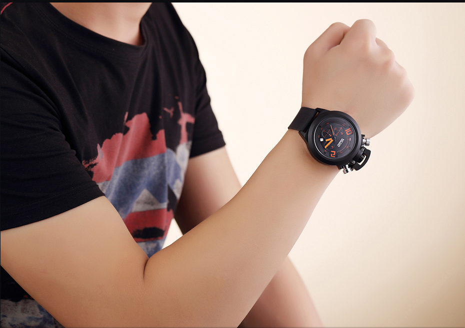 HTB1i1D.XKuSBuNjy1Xcq6AYjFXaE MEGIR Watch Orange Numbers  Creative Watches