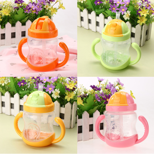 280ml Cute Baby Cup Kids Children Learn Feeding Drinking Water Straw Handle Bottle mamadeira Sippy Training Cup Baby Feeding Cup 2