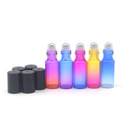 Флакон для парфюмерии, с роллером 5 мл градиент цвет 100 стекло бутылка пустой аромат эфирные масла Roler бутылка черный кепки