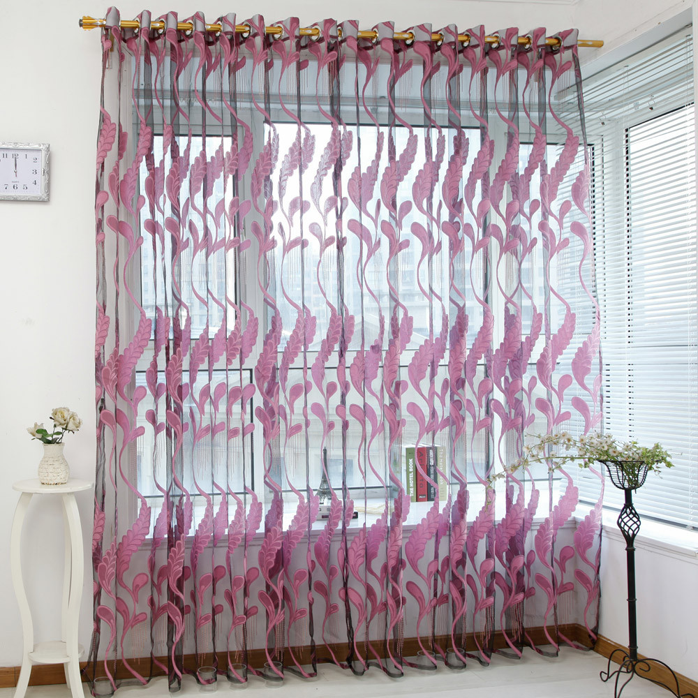 1 PC Wheat Sheer Window Chemical Tulle Modern Panel Curtains Room Divider Treatment Voile Drape Valance Panel Fabric 23May 9