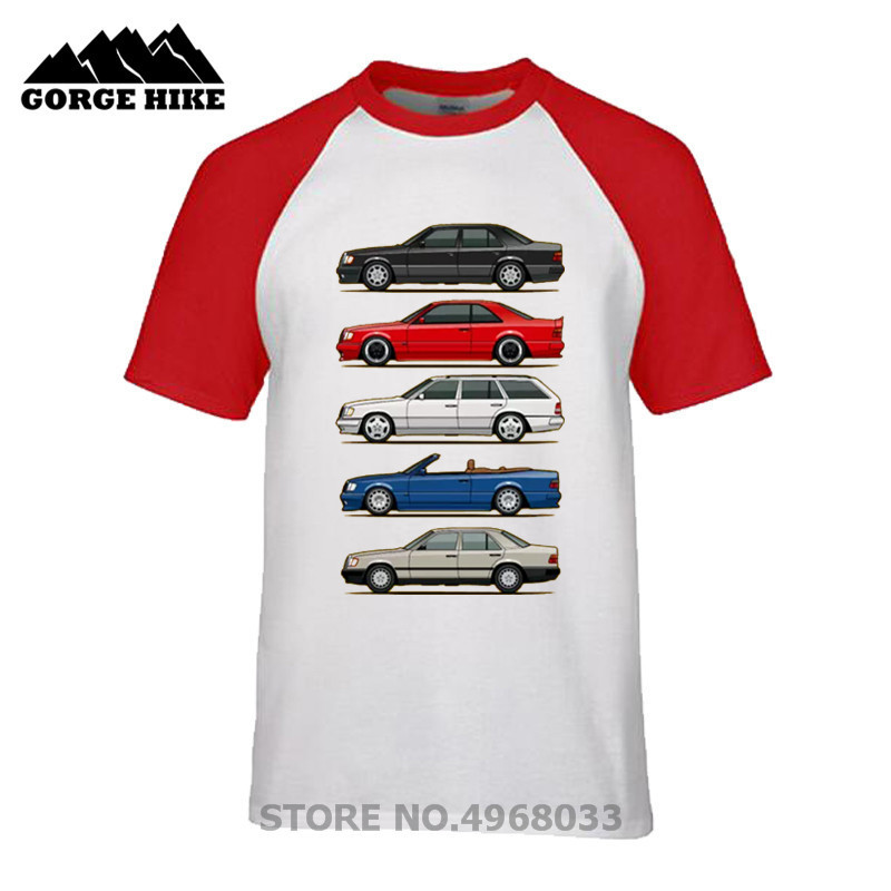 Stack Of Mercedes W124 C/E/S ClassRound Collar Tops Short Sleeve O-neck T Shirt Organic Cotton Clothes Youth Car Styling T-shirt